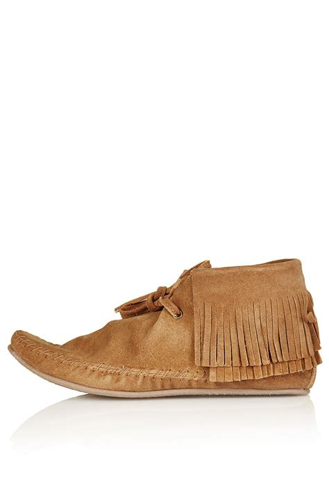 suede boots with fringe topshop maryland suede fringe boots in brown lyst