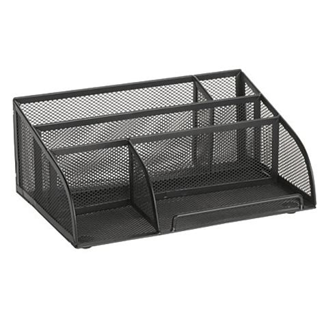 officemax mesh 5 compartment angled desk organizer black
