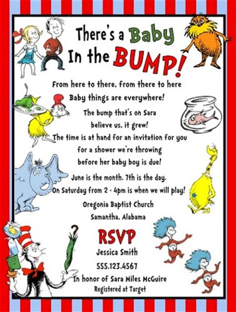 dr seuss cat hat thing 1 2 baby shower party invitations