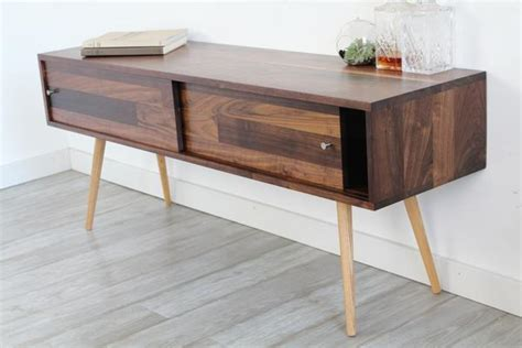 mid century solid walnut tv stand  sliding doors