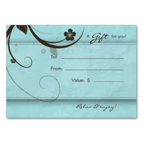 free spa gift certificate template printable salon gift card spa flower watery blue