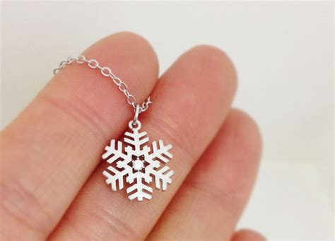 snowflake necklace in white gold gift for