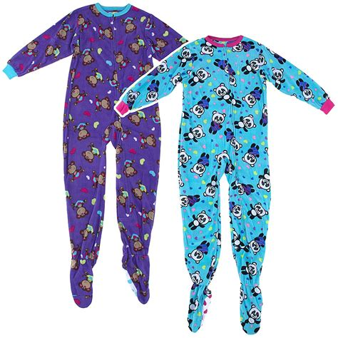 Footed Sleepers by Purple Monkey Blue Panda 2 Pack Footed Pajamas