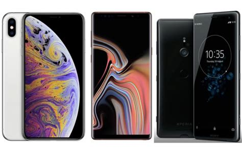apple iphone xs max vs samsung galaxy note 9 vs sony xperia xz3 price in india specifications