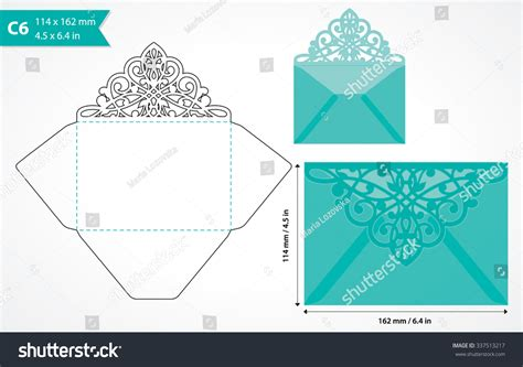 invitation card envelope template vector die cut envelope template c6 stock vector 337513217
