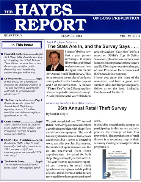 Newsletter Report The Report On Loss Prevention Newsletter L International Inc