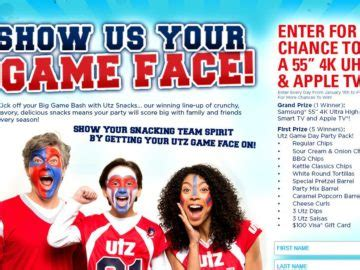 Game Face Sweepstakes - utz quality foods game face sweepstakes