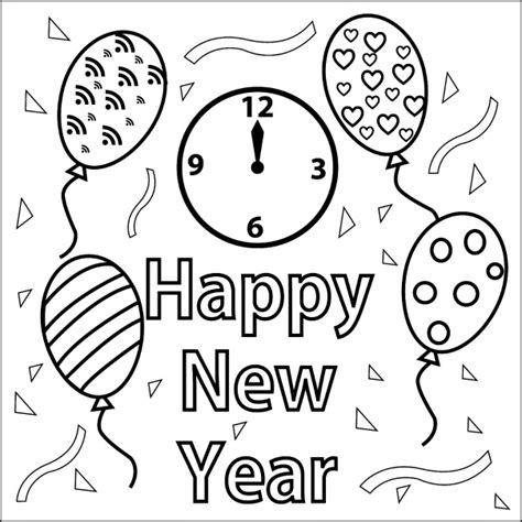 new year picture to colour printable happy new year coloring page coloringpagebook