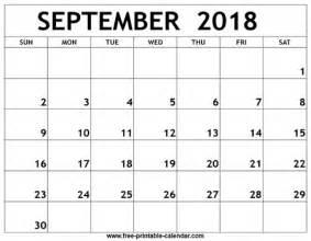 2018 Calendar September September 2018 Printable Calendar