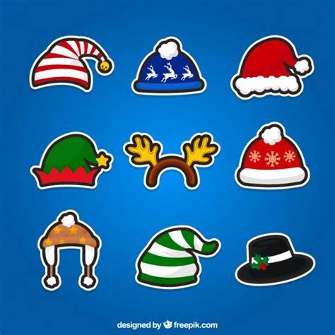 Stiker Natal Sticker 2 hats stickers vector free