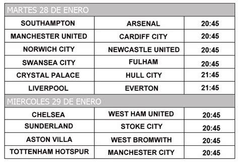 Calendario De La Liga Inglesa Liga Inglesa