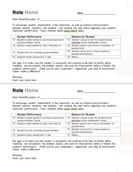 note home to parents template sle letter home to parents for behavior sle