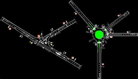 camino dwg planos de cruce de caminos y rotonda en dwg autocad