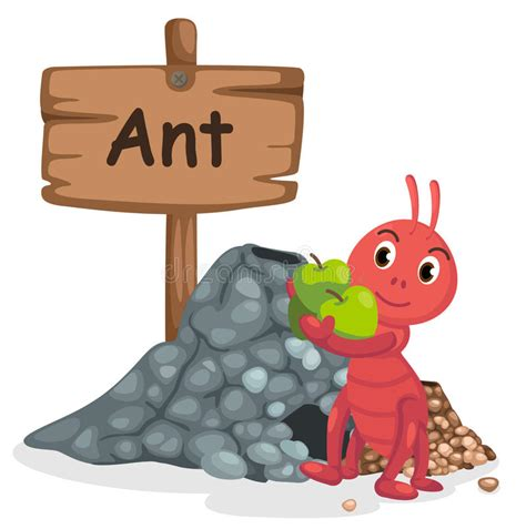 animal alphabet character stock vector animal alphabet letter a for ant stock vector