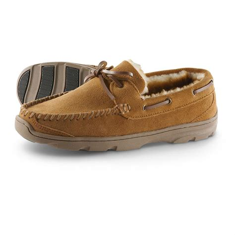 shearling lined slippers guide gear s genuine shearling lined slippers 615210