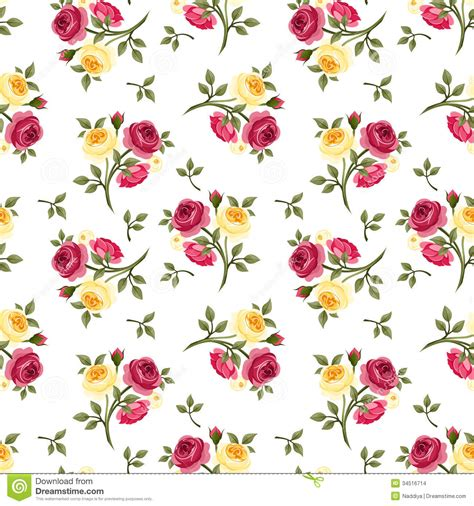 pattern flower english seamless pattern with red and yellow roses stock images
