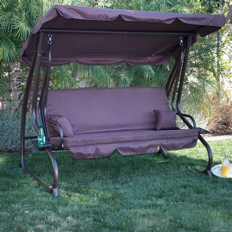 hammock bench swing 3 person outdoor swing w canopy seat patio hammock