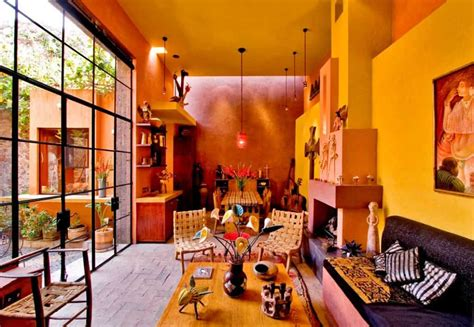 mexican living room with yellow walls and unique accessories colorful and charming mexican