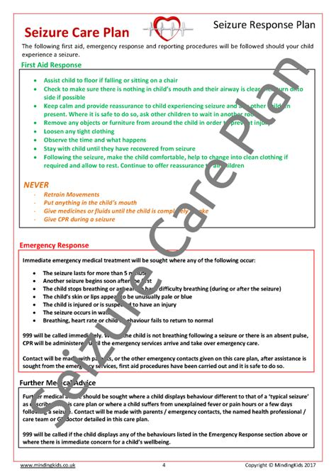 seizure action plan template seizure plan template image collections template