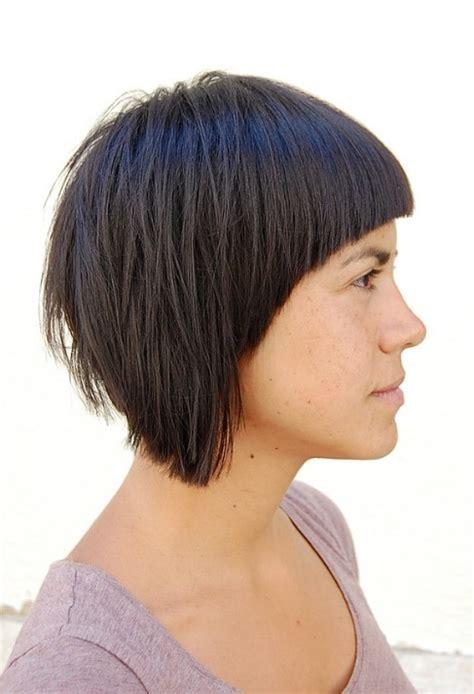 side view of asymmetric hairstyles bold asymmetric bob with attitude short black bob