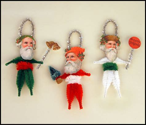 vintage style christmas folk art ornaments primitive