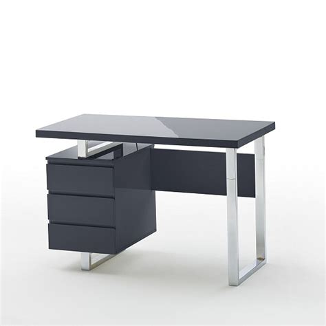 sydney computer desk in glass top and high gloss black