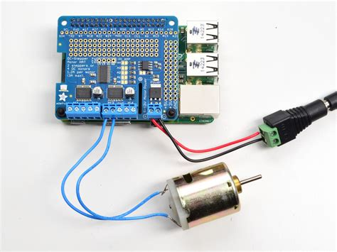 how to a motor with raspberry pi using dc motors adafruit dc and stepper motor hat for