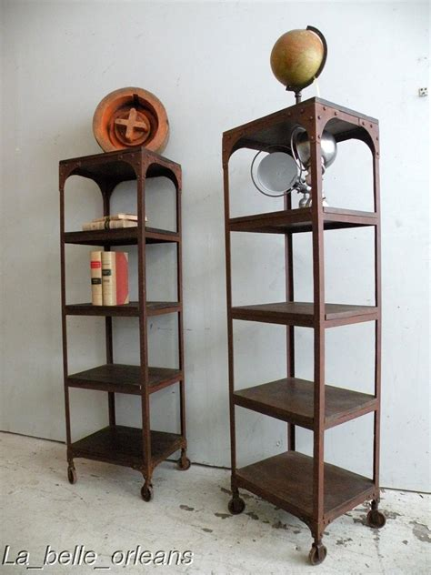 industrial bookcase on wheels pair of vtg industrial etagere bookcases on wheels for