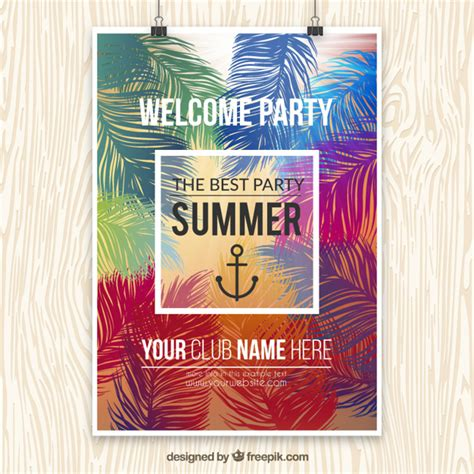 templates for party posters summer party poster template vector free download