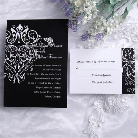 cheap classic black and white chandelier scroll wedding invitations ewi120 as low as 0 94