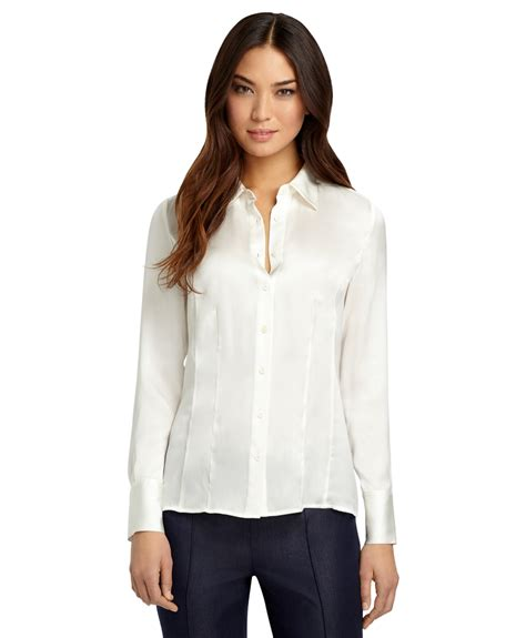 Blouse Kensi Free Bros Twiscone brothers silk georgette blouse in white lyst