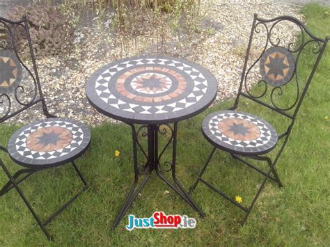 3 piece mosaic bistro set with folding chairs mosaic