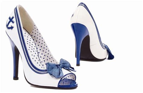 sailor high heels peep toe anchor heels sailor style