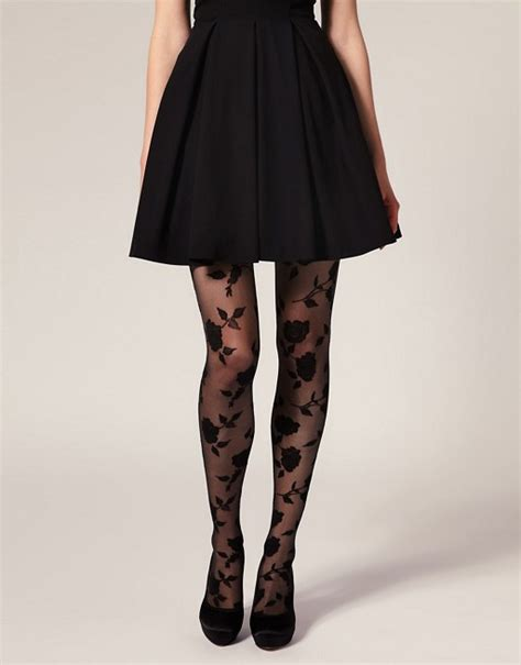 asos patterned leggings asos asos flocked rose tights