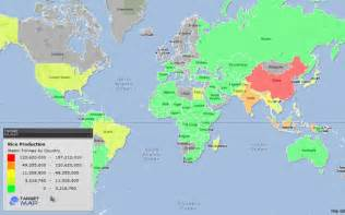 world map of 2010 world rice production by country targetmap