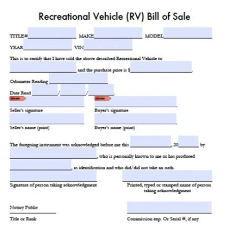 Free Printable Bill Of Sale Cer Form Generic Travel Trailer Bill Of Sale Template