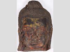 """Antique Wood Cambodian Buddha Head 23"""" (#84w30): Hindu ... Fat Free"""