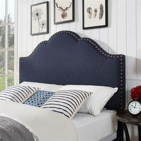 camelback upholstered headboard camelback upholstered king cal king headboard in navy linen
