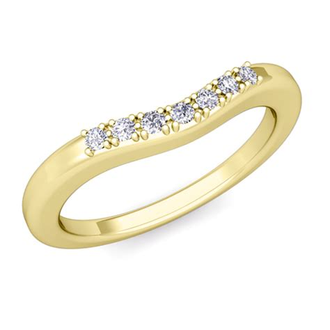 curved pave wedding anniversary ring band in 14k gold