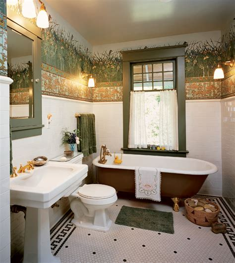 wallpaper borders bathroom ideas a frieze surmounts a tile wainscot in a victorian revival