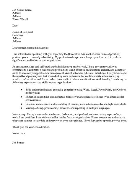 sle cover letter for executive assistant sle cover letter for administrative sle apology
