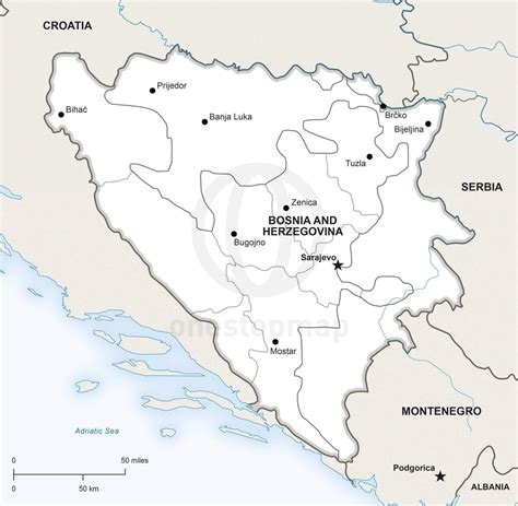 where is bosnia on a world map vector map bosnia and herzegovina political one stop map