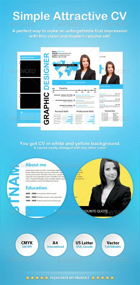 simple and attractive resume templates simple attractive cv by xstyler graphicriver