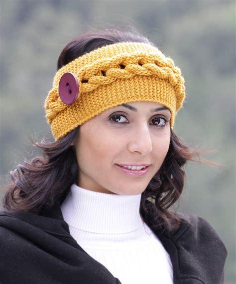 winter headbands pattern womens knit headband in mustard winter accessories cowl