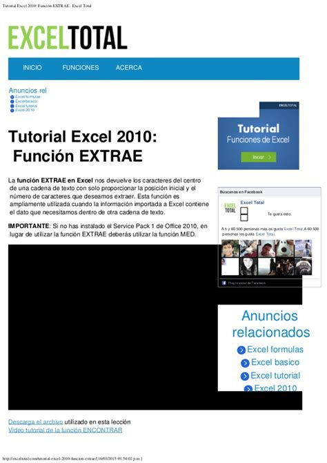 tutorial video excel 2010 tutorial excel 2010 funci 243 n extrae