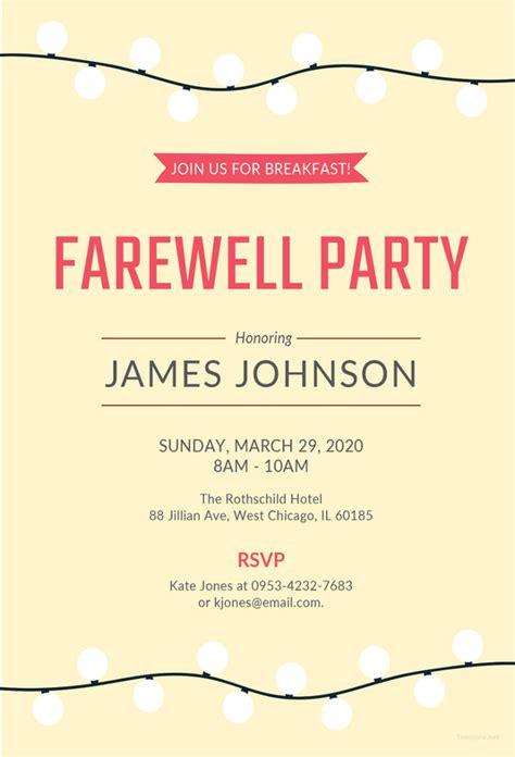 farewell invitation card template 28 farewell invitation template free sle exle