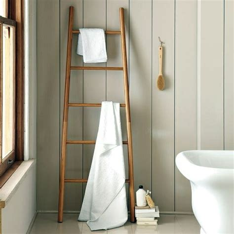 Wooden towel ladder in both rustic as well as in modern bathroom interior design ideas avso org
