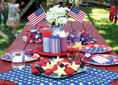 fourth of july decorations detail of a colorful table setting with fourth of july