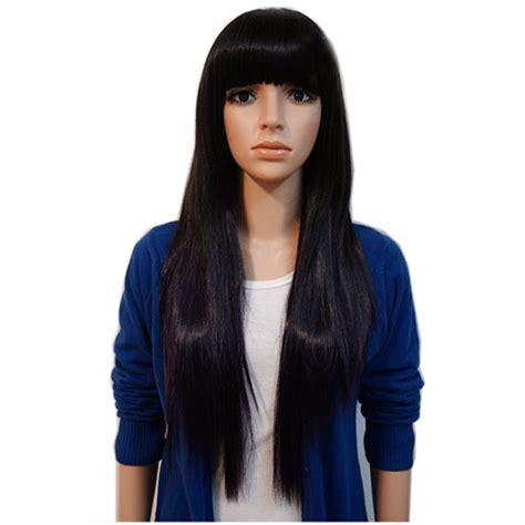 imagenes cabello negro largo cosplay peluca cabello largo liso lacio color negro fleco