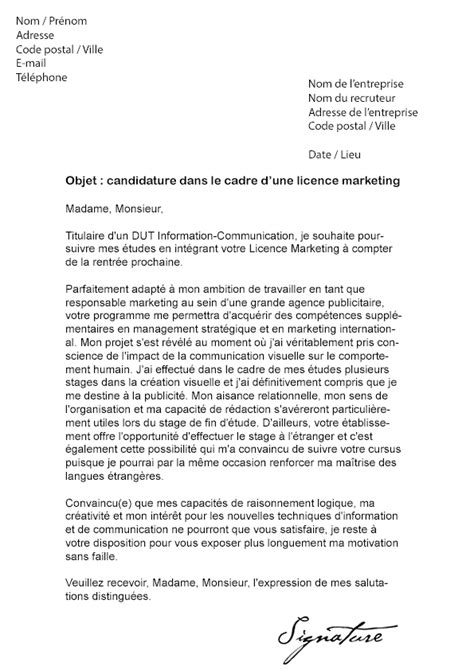Lettre De Recommandation Marketing Lettre De Motivation Licence Marketing Mod 232 Le De Lettre